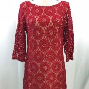 Jessica Howard Red Lace Overlay Dress